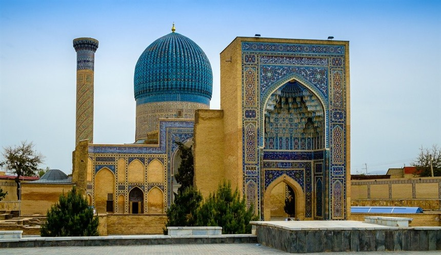 The Gur-Emir Mausoleum in Samarkand, Uzbekistan - one stop on the Silk Road by Train journey