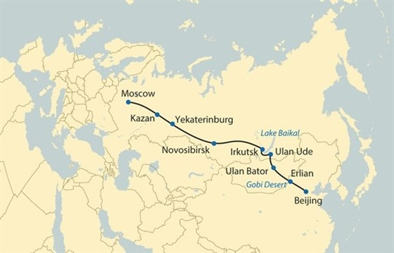 Trans-Siberian Map – Moscow to Beijing on the Tsar's Gold