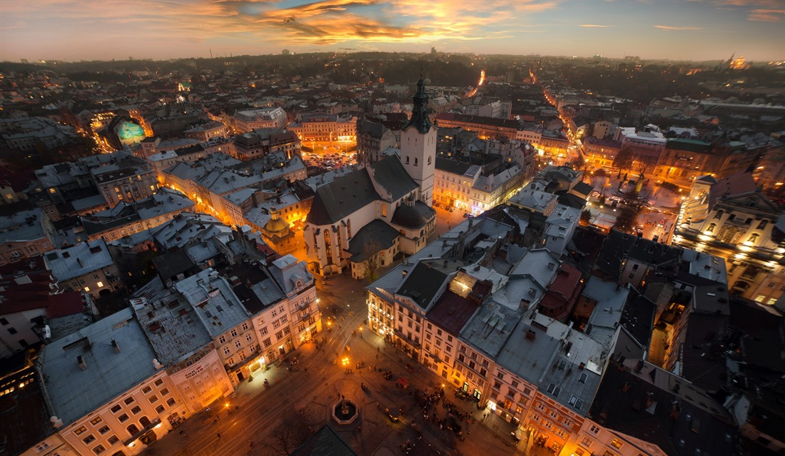 Panorama over Lviv at night