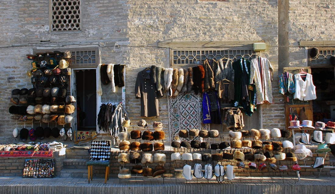 Clothing market stall on the streets of Bukhara
