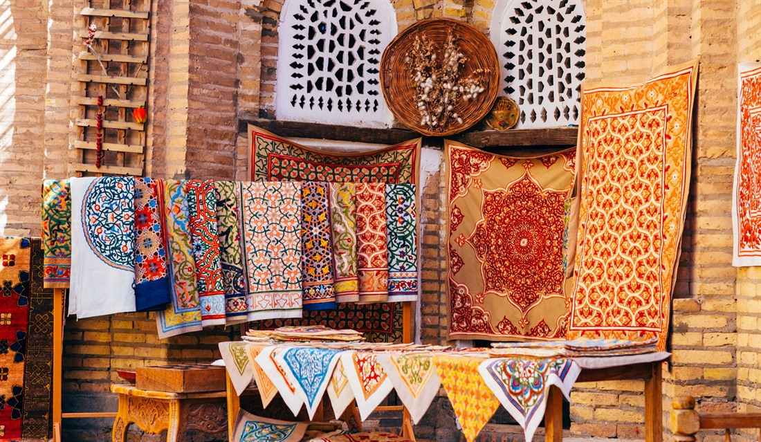 Carpets and silk scarves for sale in Khiva
