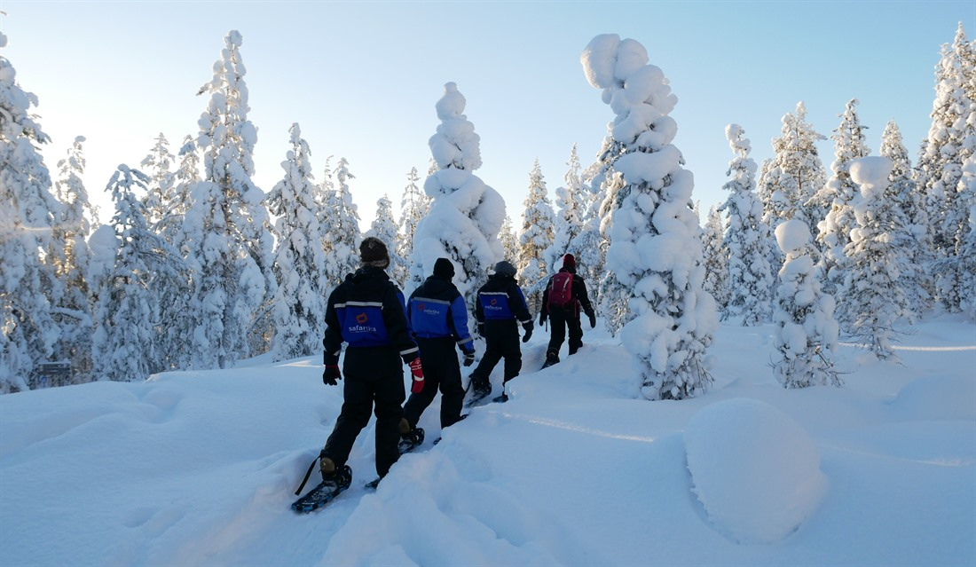 Everyone tries snowshoeing through the frozen forest