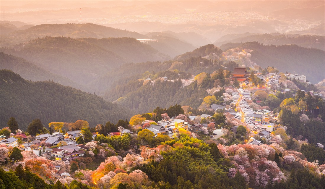 View of Yoshinoyama in the Nara region during spring