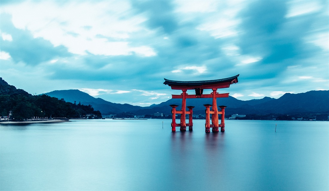 The torii gate of Itsukushima Shrine in Hatsukaichi