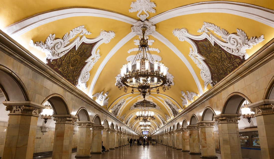 You might think this is an art gallery or opera house, but in fact it's just one of Moscow's many stunning and ornate metro stations! © Shutterstock/Ondrej Prosicky