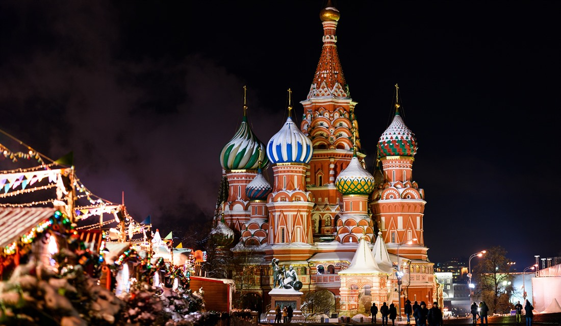 Marvel at St Basil's Cathedral whilst enjoying Moscow's Christmas market