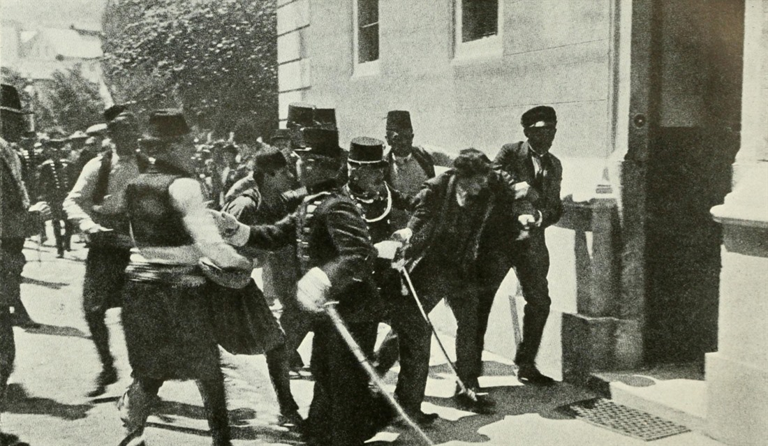 The arrest of Gavrilo Prinzep following the assassination of Archduke Franz Ferdinand and his wife Sophie, 28 June 1914