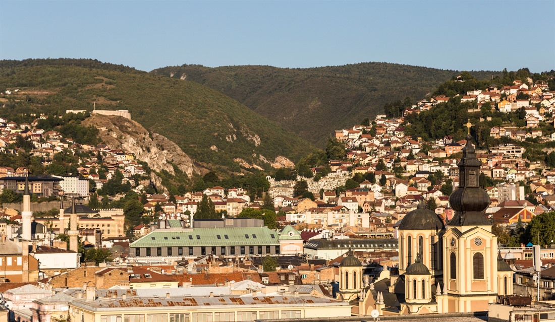 Sarajevo Old Town with both the Orthodox cathedral and the mosque visible. © AsiaTravel