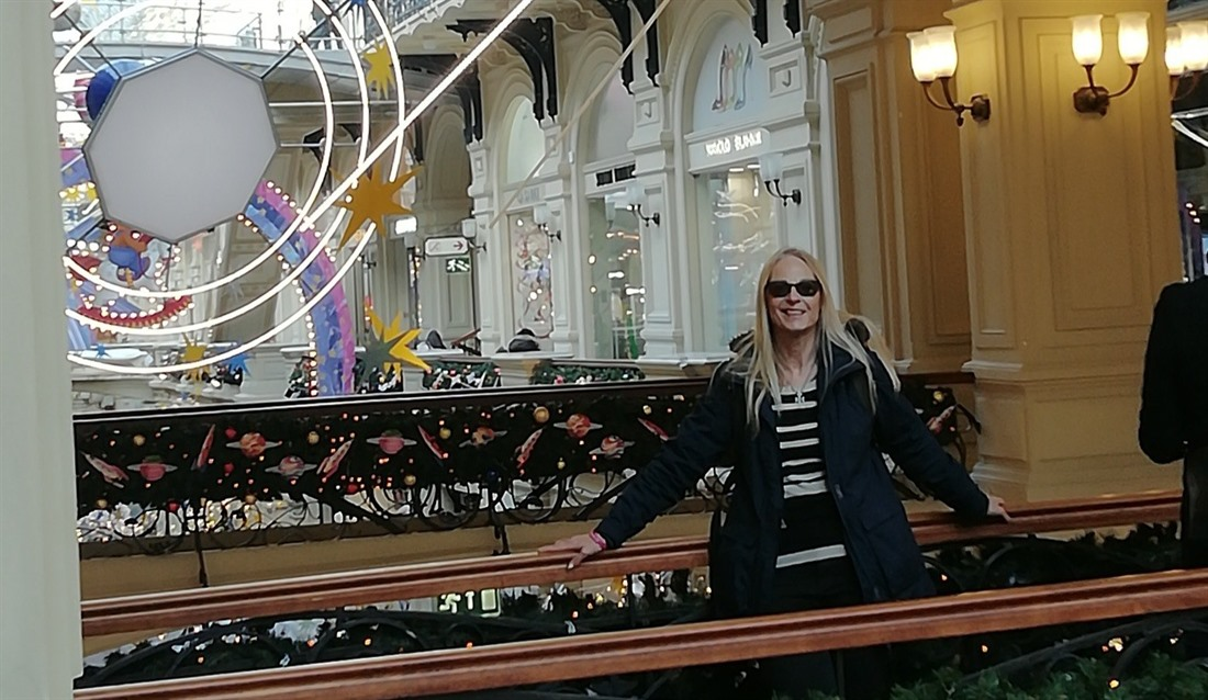 Christina in a glitzy shopping mall in Moscow