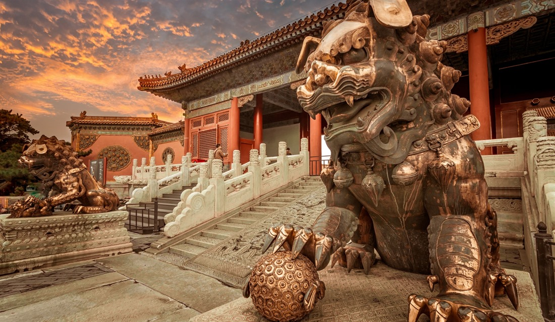A dragon guarding the gates of the Forbidden City