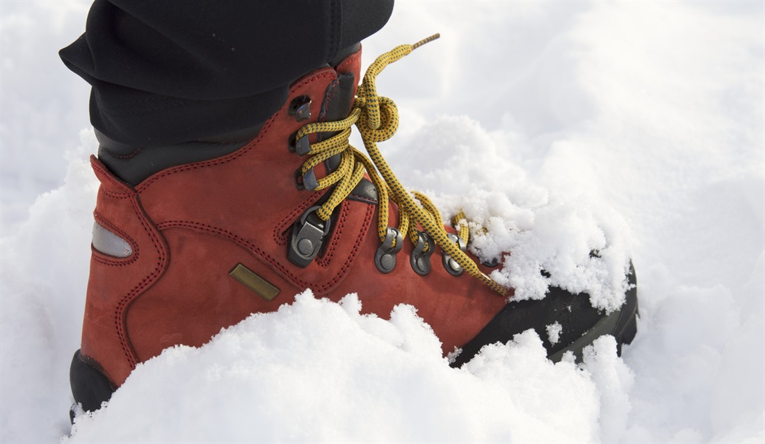 Hiking boots in the snow