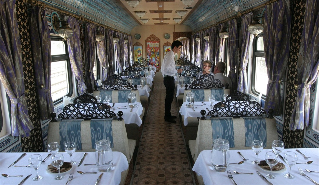 The restaurant car aboard the Orient Silk Road Express