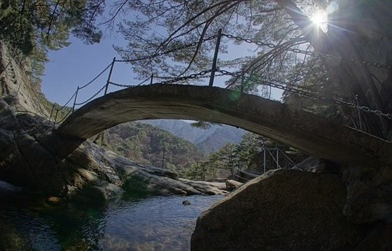 A bridge at Mount Myohyang