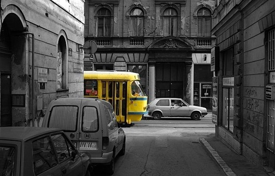 A typical tram in Sarajevo by Rob Hogeslag