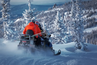 Snowmobile safari into the Arctic Circle Forest