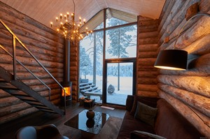 Interior of Log Cabin 1 & 2 at Arctic Retreat