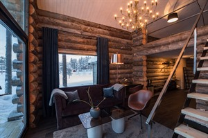 Lounge of Log Cabin 1 and 2 at Arctic Retreat