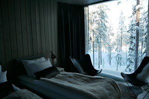 Cosy viewing at the Arctic Treehouse Hotel