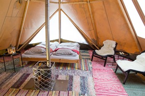 Interior of heated tent at Aurora Safari Camp