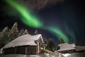 Aurora Borealis above the Northern Lights Village