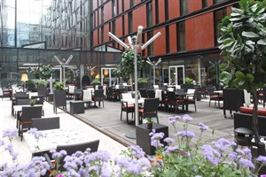 Glass enclosed courtyard at the Radisson Blu Elizabete