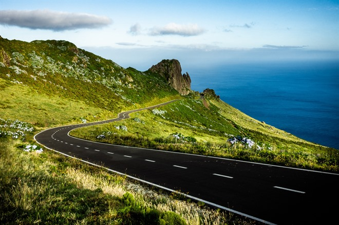 The open road on Flores Island