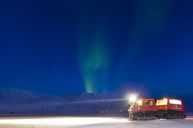 Northern Lights - Svalbard by Snowcat