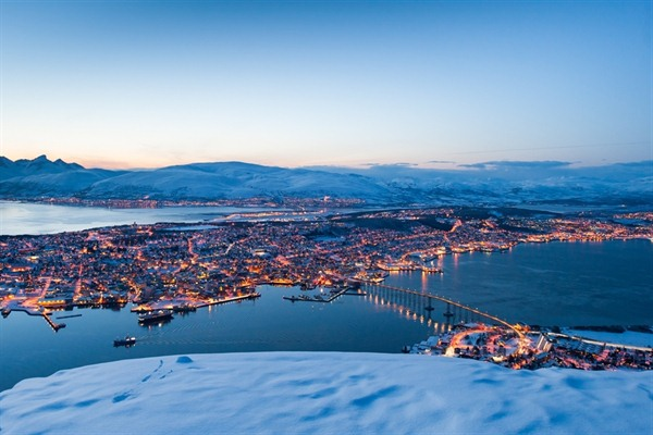 Aerial view over Tromso