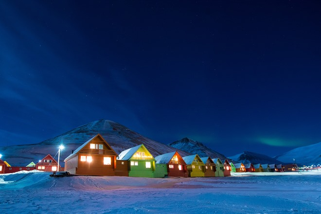 Iconic coloured houses of Longyearbyen