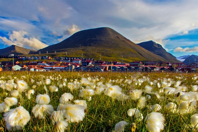 Longyearbyen under the midnight sun