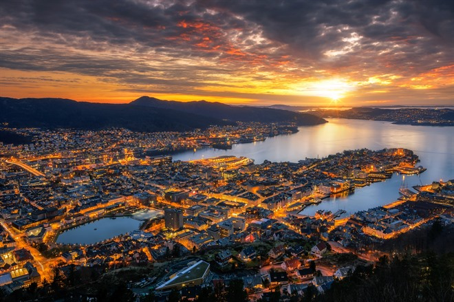 Sunset over Bergen from the top of Mt. Fløyen