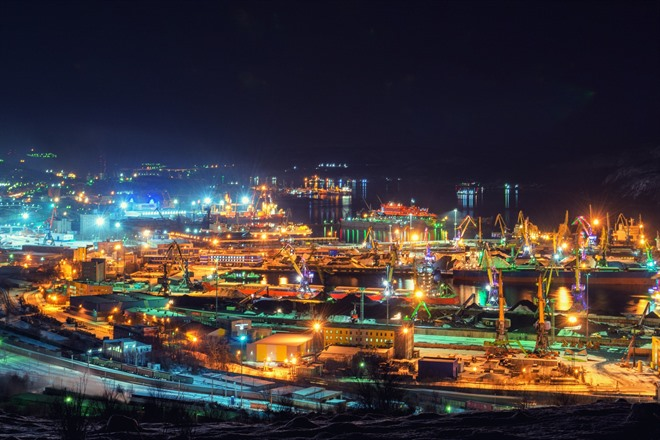 Murmansk at night