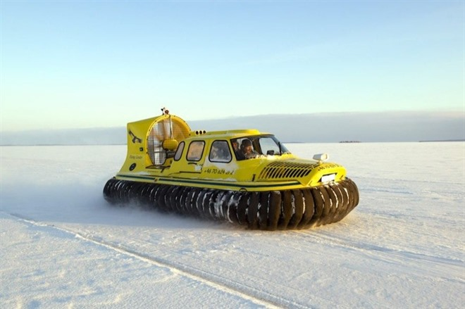 Hovercraft on the frozen ice