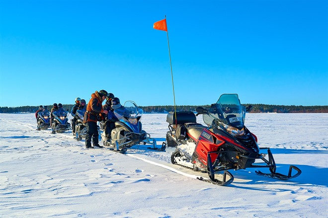 Snowmobiling across the ice