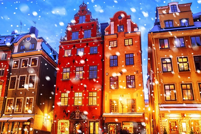 Historic Gamla Stan in the snow