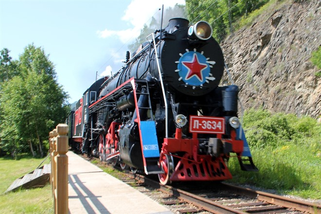LAKE BAIKAL BY SOVIET-ERA STEAM LOCOMOTIVE