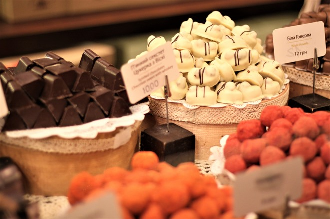 Handmade chocolate sweets in a sweet shop in Lviv