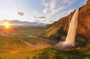 Seljalandsfoss and Midnight sun, Iceland