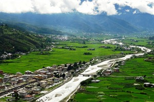 Paro town in the Paro Valley, western Bhutan