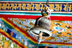 Murals and bell in a monastery, Bhutan
