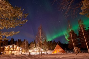 Northern lights at Brändön Lodge