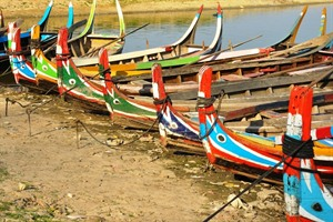 Fishing boats near U Bein Bridge