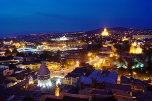 Stock Photo: Night view to Old town of Tbilisi