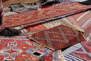 Traditional carpets in the street market in Tbilisi Old town