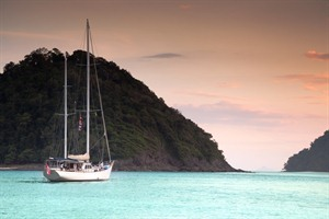 Mergui Archipelago - yacht at anchor