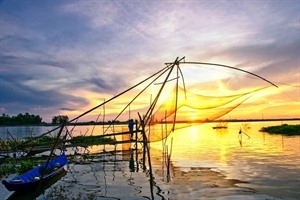 Fishing nets in the Mekong Delta
