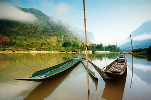 Longtail boats on the Mekong River