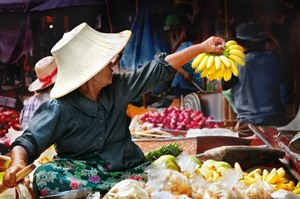 Fruit seller on the Mekong, Vietnam
