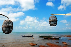 Traditional crab baskets in Kep, Cambodia