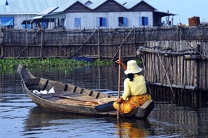 A floating village on Tonle Sap Lake, Cambodia